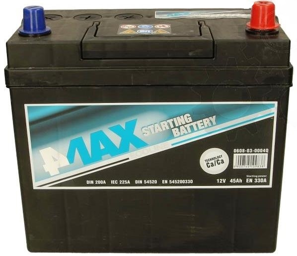АКУМУЛАТОРИ 4MAX 4MAX STARTING BATTERY JAP 4MAX STARTING BATTERY JAP 45AH 330A R+ цена